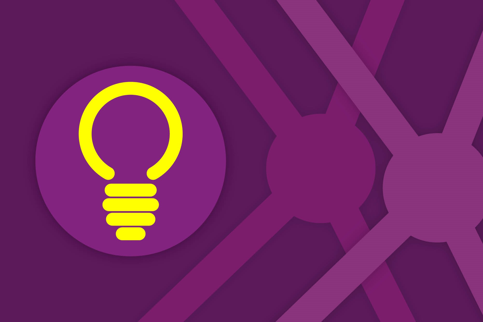 A purple image with stylised coronaviruses in the back ground and a yellow light bulb icon